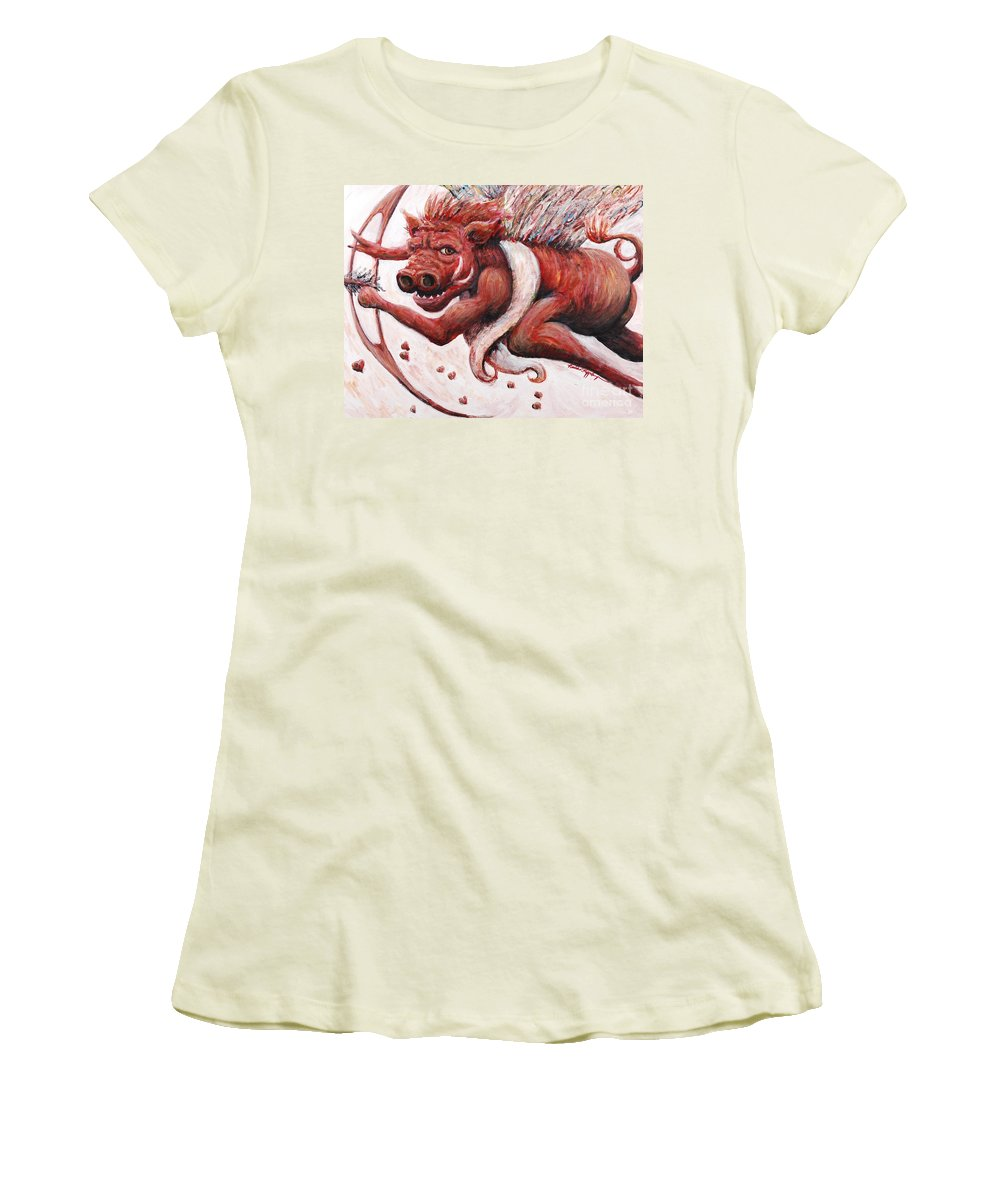 Pig Women's T-Shirt (Athletic Fit) featuring the painting Cupig by Nadine Rippelmeyer