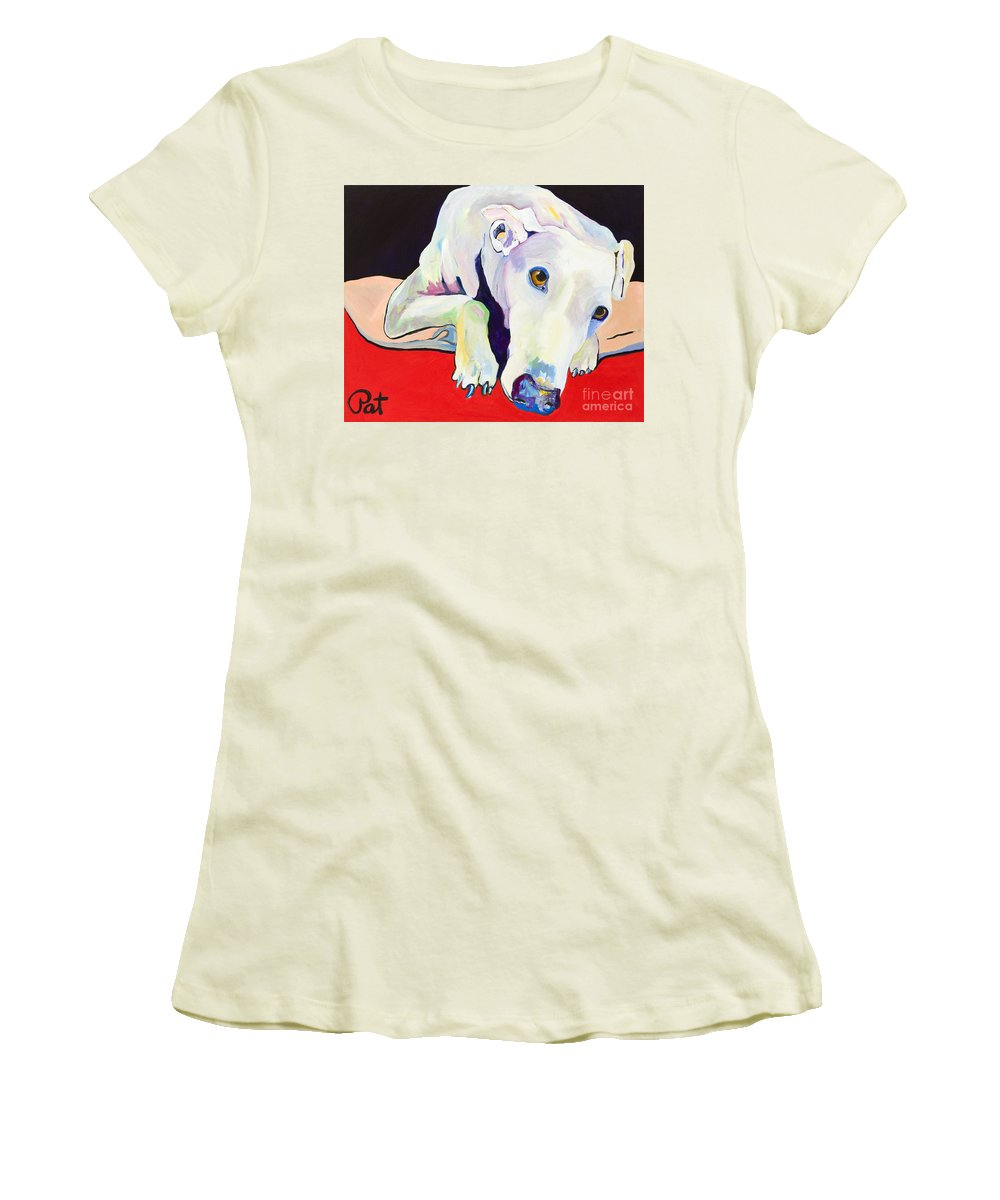 Animals Pets Greyhound Women's T-Shirt (Athletic Fit) featuring the painting Cyrus by Pat Saunders-White