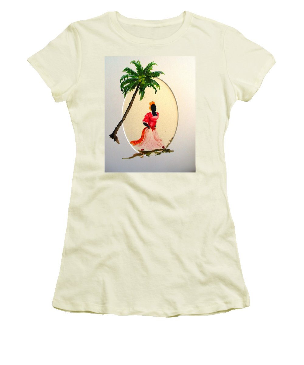 Caribbean Dancer Women's T-Shirt (Athletic Fit) featuring the painting Dancer 1 by Karin Dawn Kelshall- Best