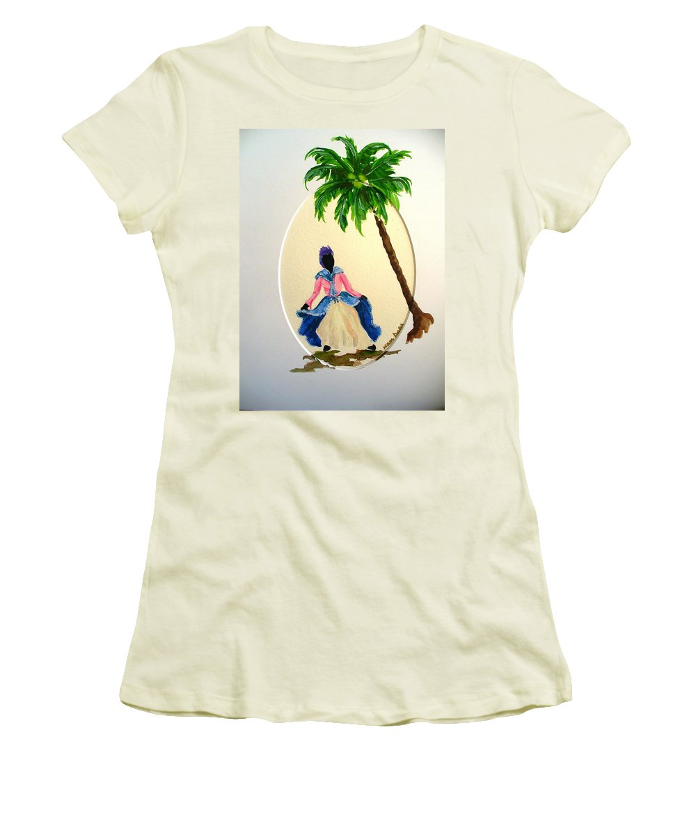 Dancer Caribbean Women's T-Shirt (Athletic Fit) featuring the painting Dancer 2 by Karin Dawn Kelshall- Best