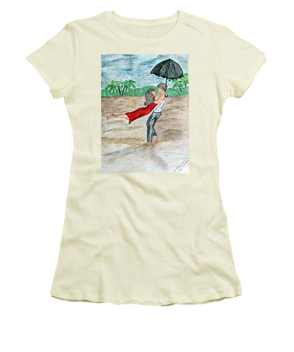 Dancing Women's T-Shirt (Athletic Fit) featuring the painting Dancing In The Rain On The Beach by Kathy Marrs Chandler