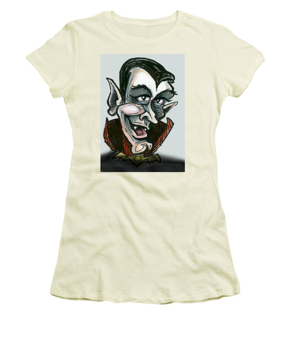 Dracula Women's T-Shirt (Athletic Fit) featuring the greeting card Dracula by Kevin Middleton