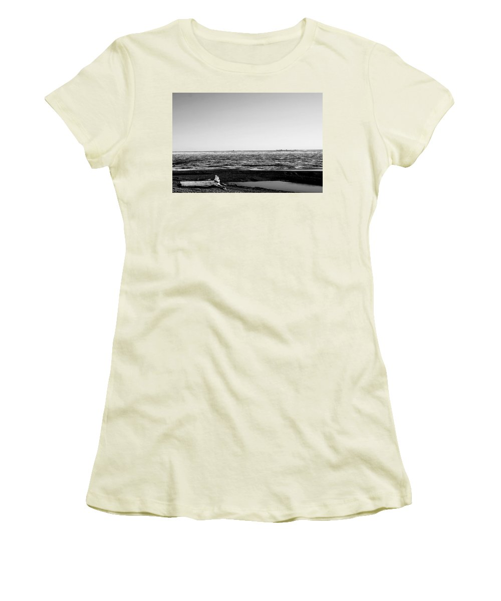 Landscape Women's T-Shirt (Athletic Fit) featuring the photograph Driftwood On Arctic Beach Balck And White by Anthony Jones