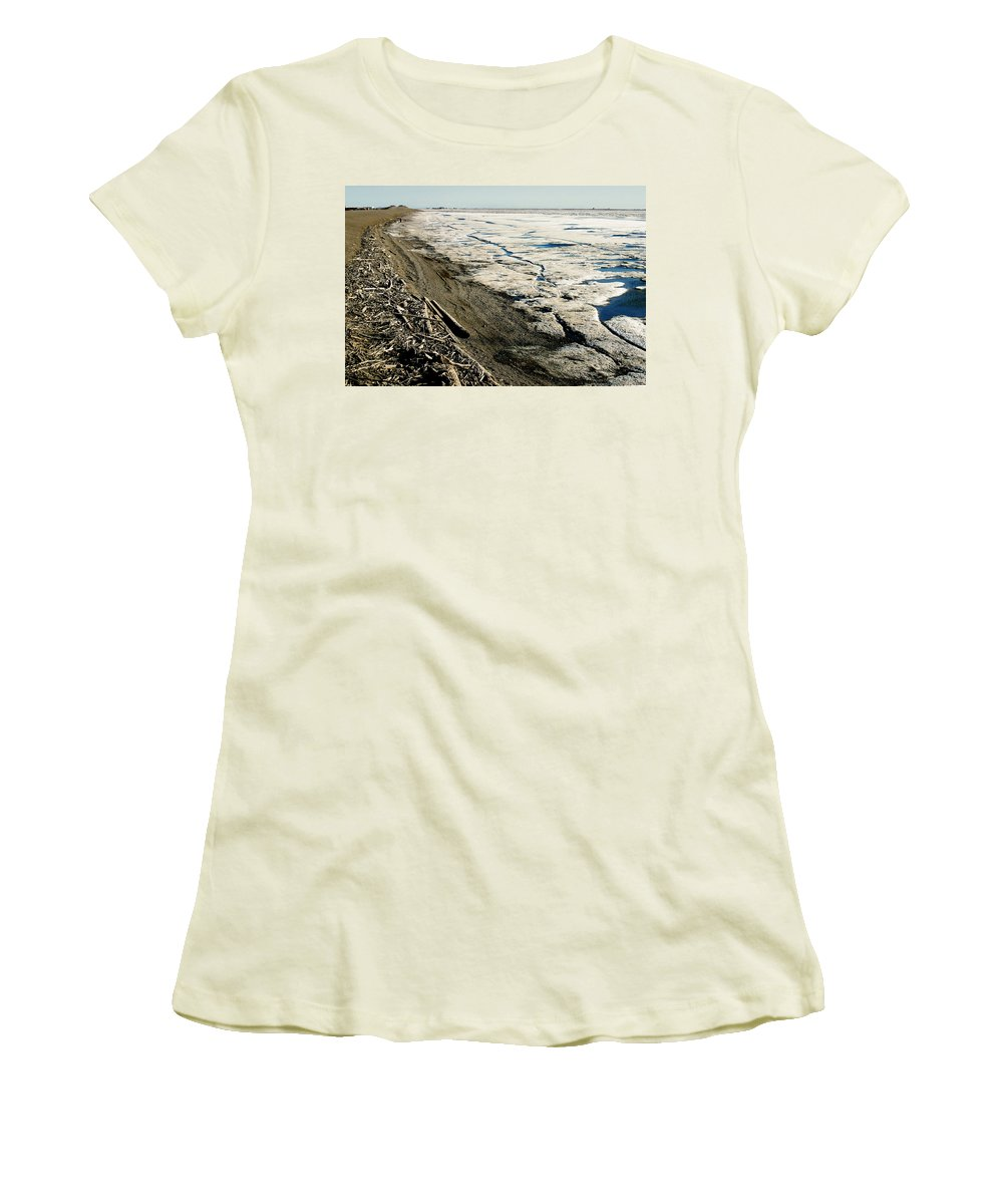 Drift Wood Women's T-Shirt (Athletic Fit) featuring the photograph Driftwood On The Frozen Arctic Coast by Anthony Jones