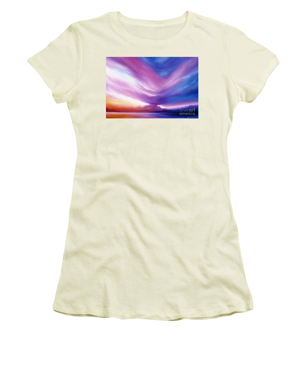 Clouds Women's T-Shirt (Junior Cut) featuring the painting Ecstacy by James Christopher Hill