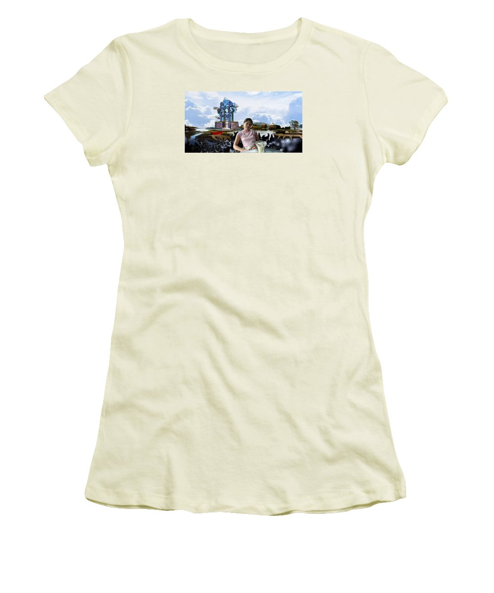 Spacem Maine Women's T-Shirt (Athletic Fit) featuring the digital art Emma's Afternoon Snack by Dave Martsolf