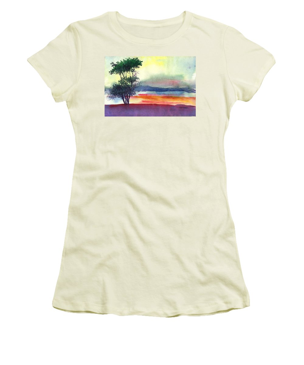 Water Color Women's T-Shirt (Athletic Fit) featuring the painting Evening Lights by Anil Nene