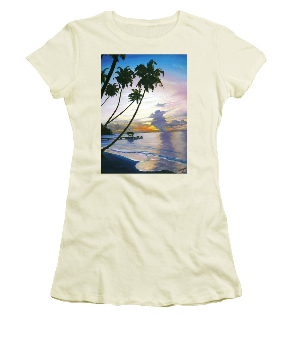 Ocean Painting Seascape Painting Beach Painting Sunset Painting Tropical Painting Tropical Painting Palm Tree Painting Tobago Painting Caribbean Painting Original Oil Of The Sun Setting Over Pigeon Point Tobago Women's T-Shirt (Athletic Fit) featuring the painting Eventide Tobago by Karin Dawn Kelshall- Best