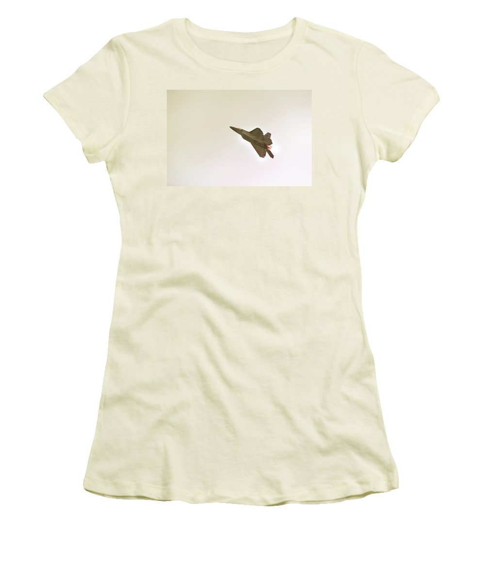 Airplane Women's T-Shirt (Athletic Fit) featuring the photograph F-22 Raptor by Sebastian Musial