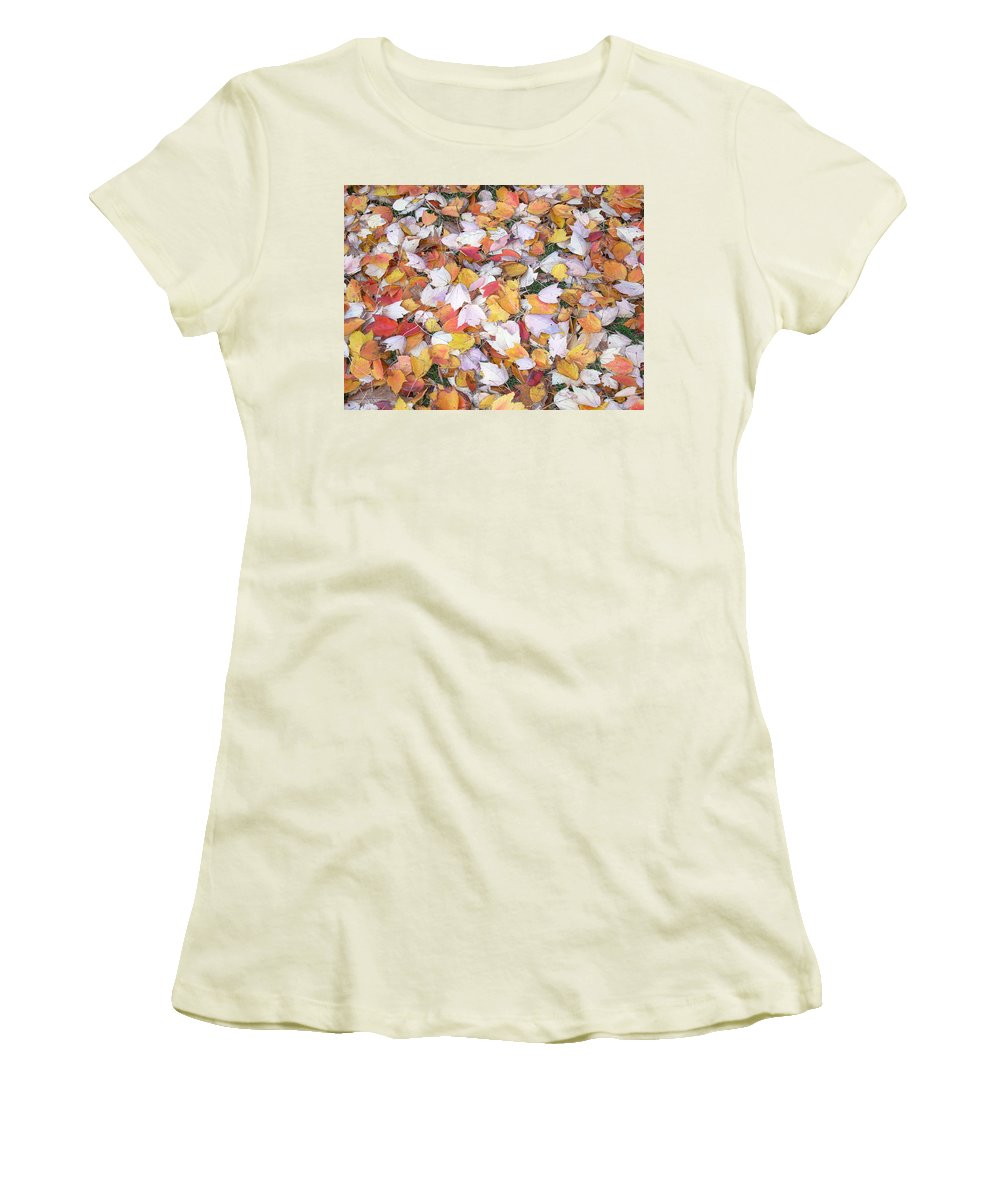 Photography Fall Autum Leaves Women's T-Shirt (Athletic Fit) featuring the photograph Fallen Fantasy by Karin Dawn Kelshall- Best