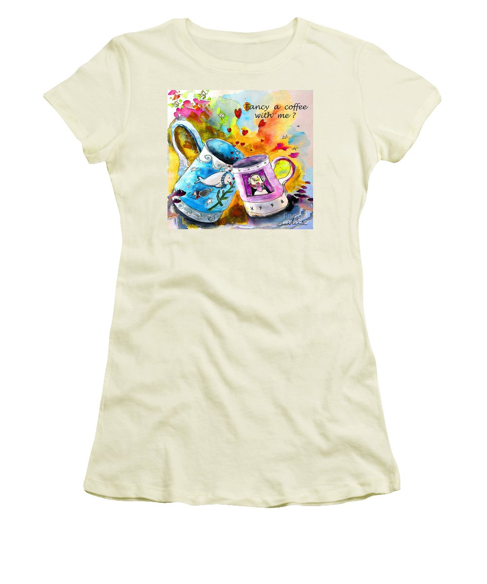 Cafe Crem Women's T-Shirt (Athletic Fit) featuring the painting Fancy A Coffee by Miki De Goodaboom
