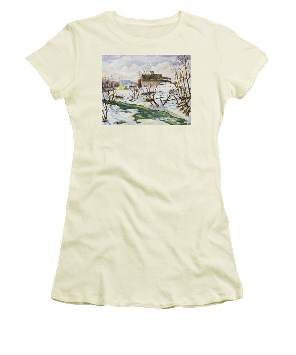 Farm Women's T-Shirt (Athletic Fit) featuring the painting Farm In Winter by Richard T Pranke