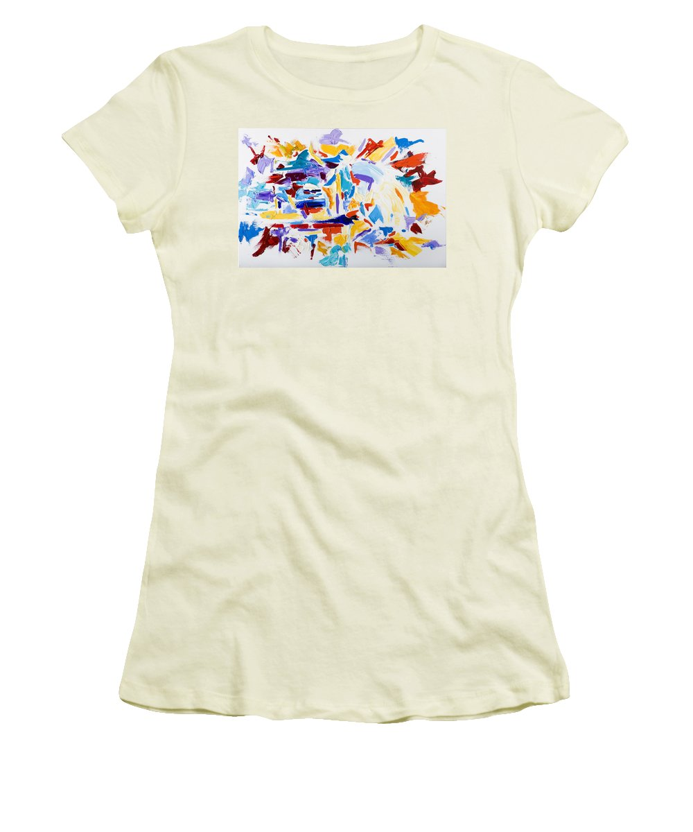 Abstract Yellow Women's T-Shirt (Athletic Fit) featuring the painting Fiesta by Shannon Grissom