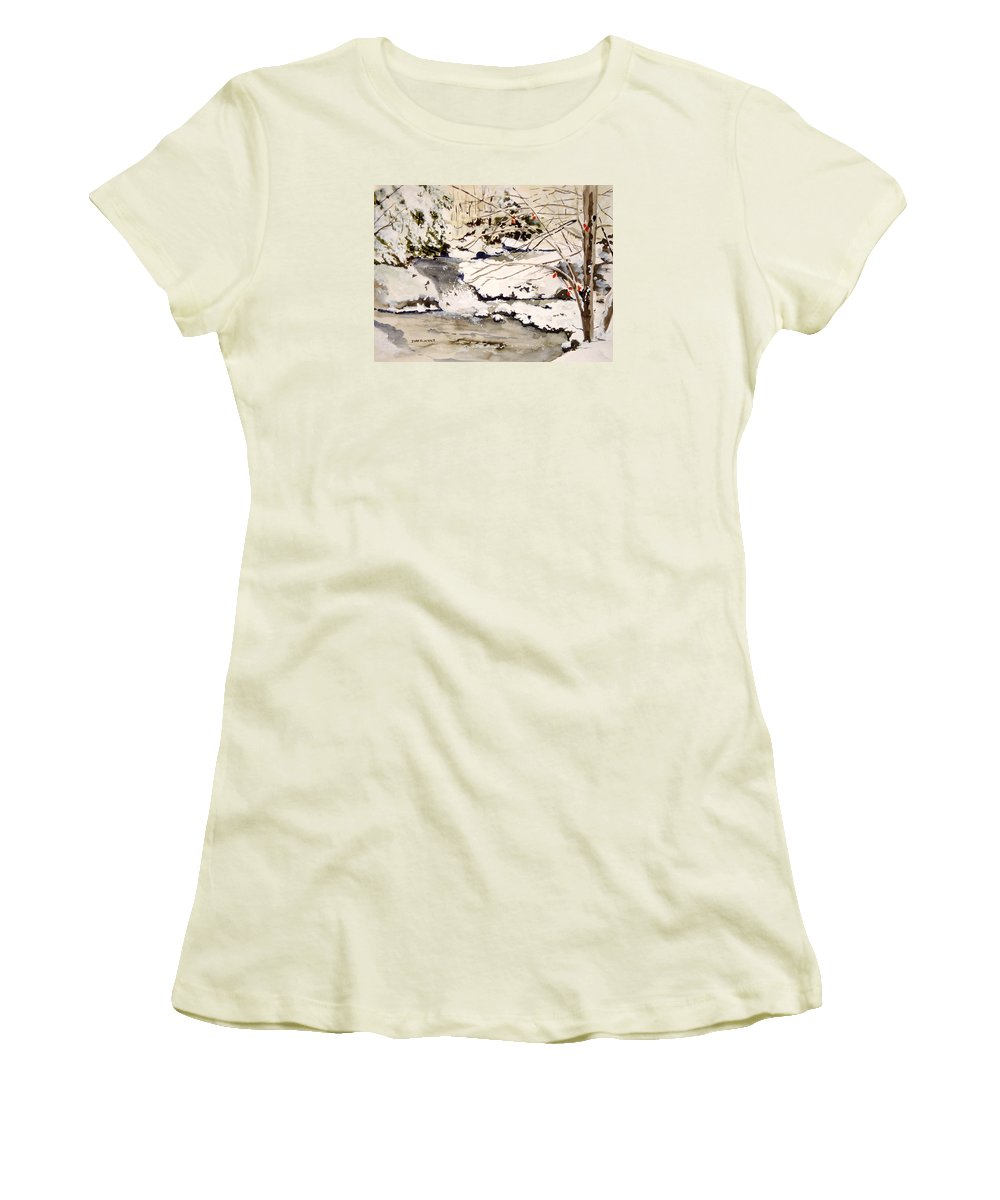 Winter Scene Women's T-Shirt (Athletic Fit) featuring the painting First Snowfall by Jean Blackmer