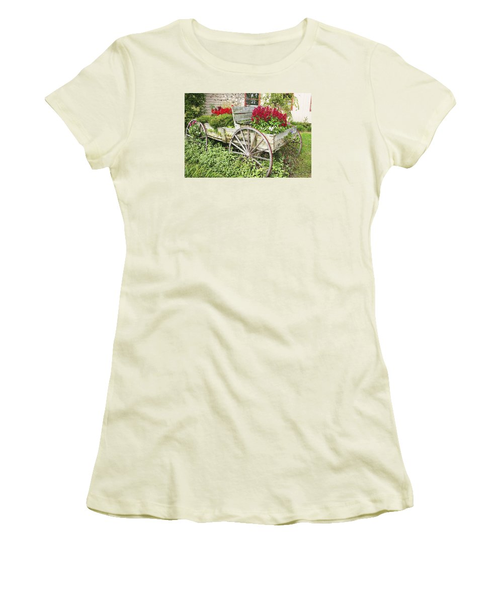 Wagon Women's T-Shirt (Athletic Fit) featuring the photograph Flower Wagon by Margie Wildblood