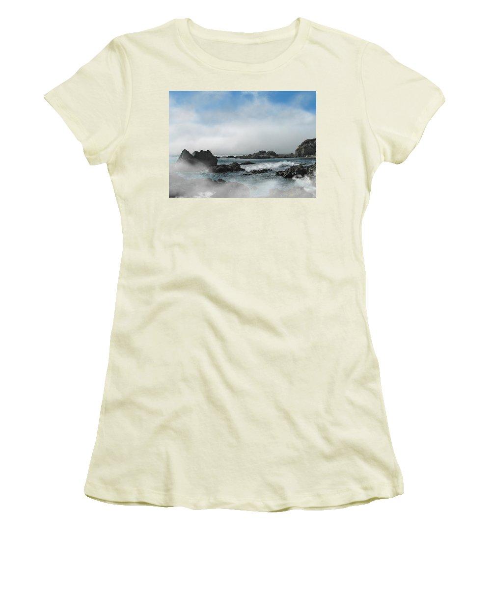 Ocean Women's T-Shirt (Athletic Fit) featuring the photograph Fog Lift by Karen W Meyer