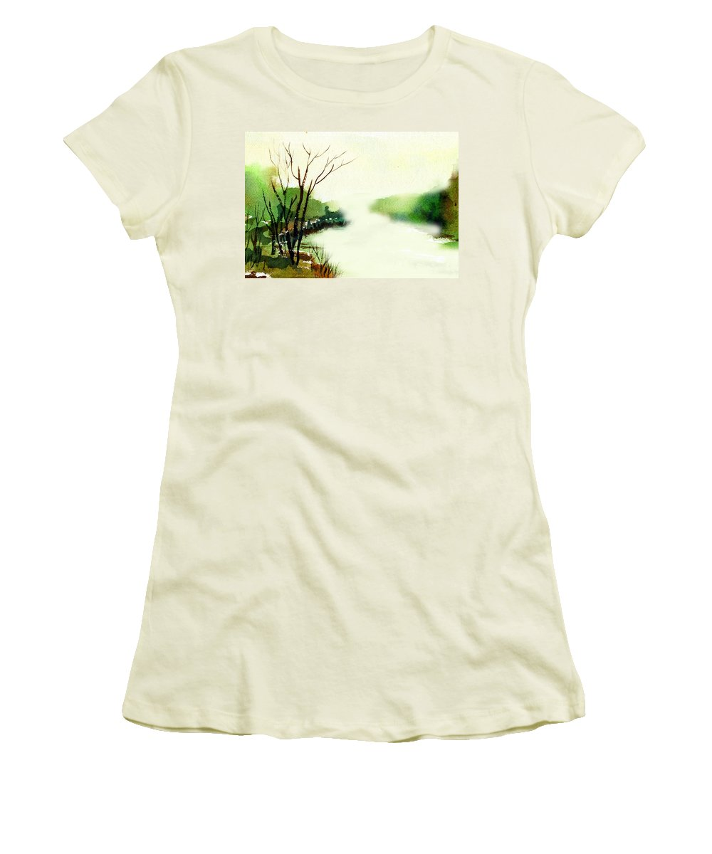 Water Color Women's T-Shirt (Athletic Fit) featuring the painting Fog1 by Anil Nene