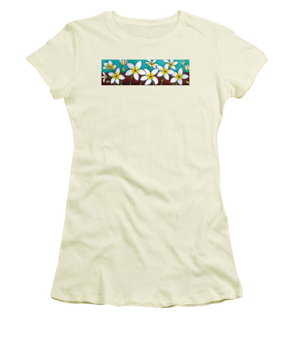 Frangipani Women's T-Shirt (Athletic Fit) featuring the painting Frangipani Delight by Lisa Lorenz