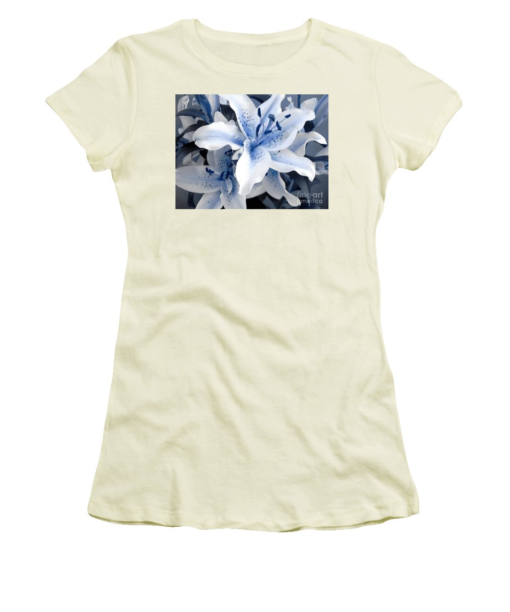 Blue Women's T-Shirt (Athletic Fit) featuring the photograph Freeze by Shelley Jones