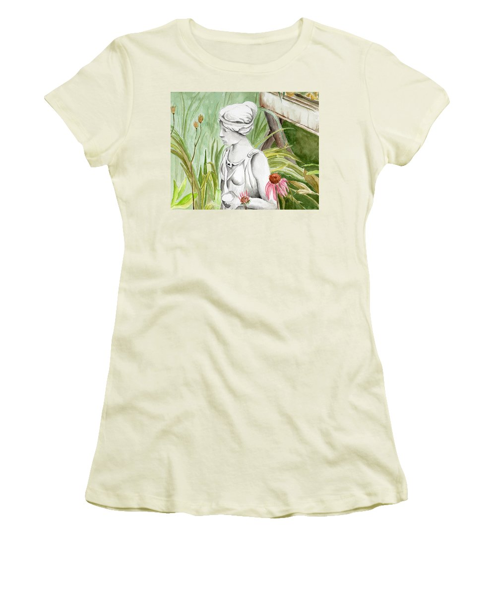 Watercolor Scenery Color Rural Garden Statue Woman Gardening Plants Flower Green Women's T-Shirt (Athletic Fit) featuring the painting Garden Beauty by Brenda Owen