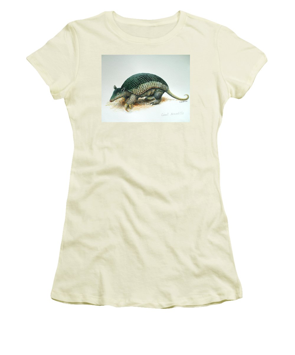 Giant Armadillo Women's T-Shirt (Athletic Fit) featuring the painting Giant Armadillo by Christopher Cox