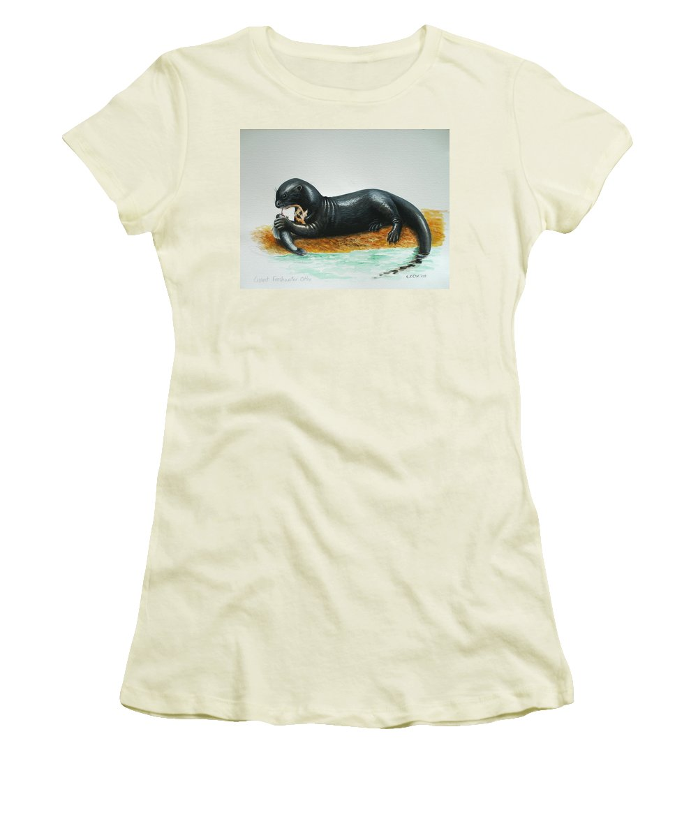 Giant River Otter Women's T-Shirt (Athletic Fit) featuring the painting Giant River Otter by Christopher Cox