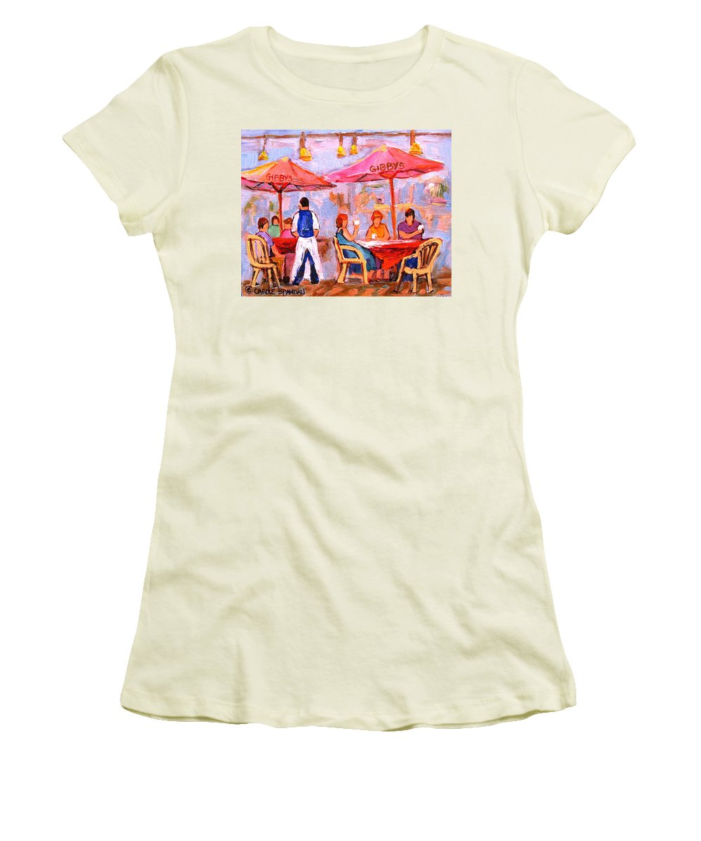 Gibbys Restaurant Montreal Street Scenes Women's T-Shirt (Athletic Fit) featuring the painting Gibbys Cafe by Carole Spandau