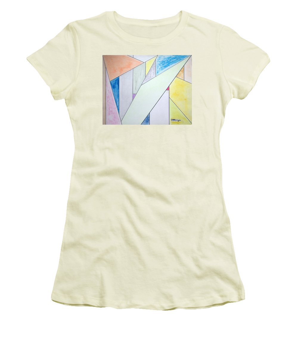 Buildings Women's T-Shirt (Athletic Fit) featuring the mixed media Glass-scrapers by J R Seymour