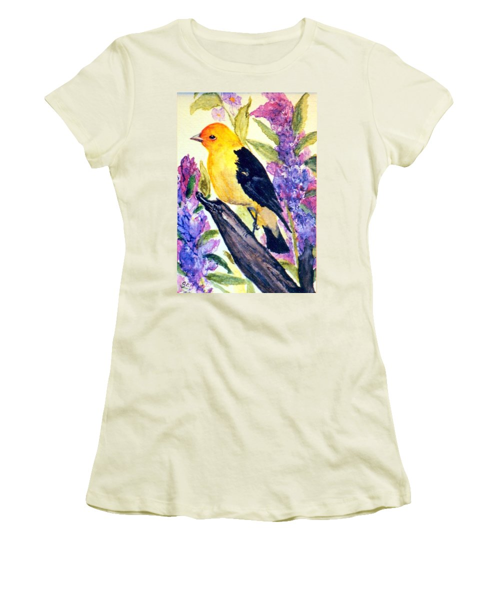 Birds Women's T-Shirt (Athletic Fit) featuring the painting Goldfinch by Gail Kirtz