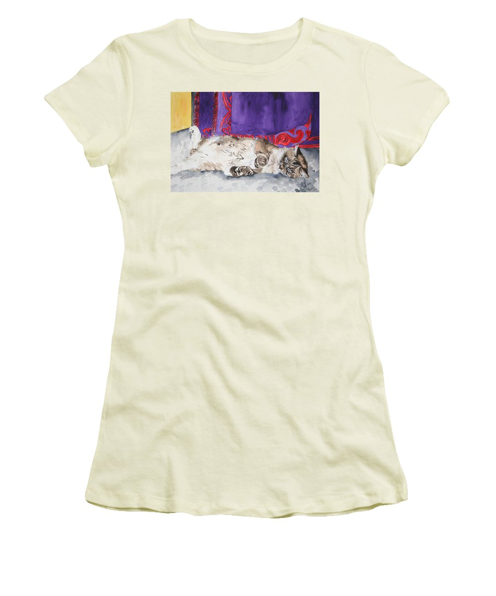 Cat Women's T-Shirt (Athletic Fit) featuring the painting Guilley by Jean Blackmer