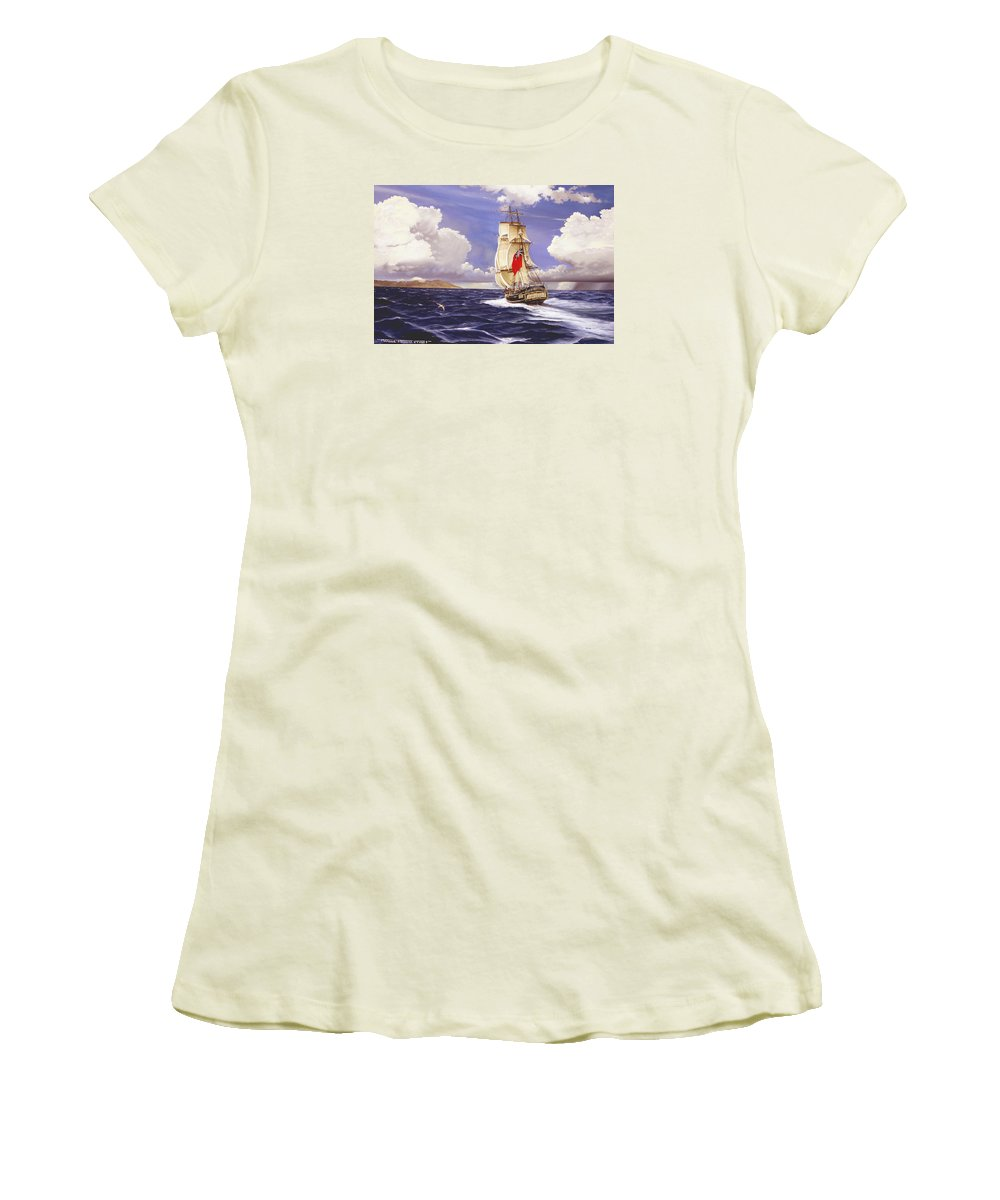 Marine Women's T-Shirt (Athletic Fit) featuring the painting H. M. S. Bounty At Tahiti by Marc Stewart