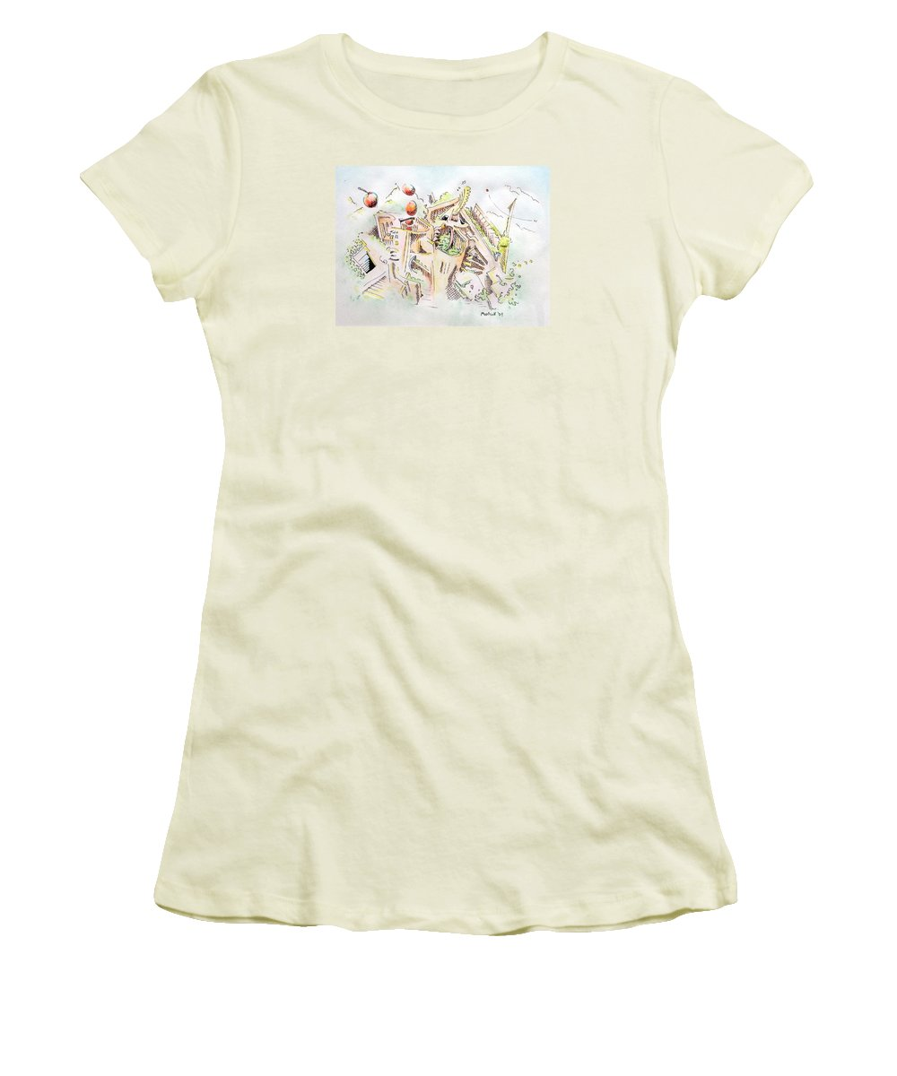 City Women's T-Shirt (Athletic Fit) featuring the painting Habitat by Dave Martsolf