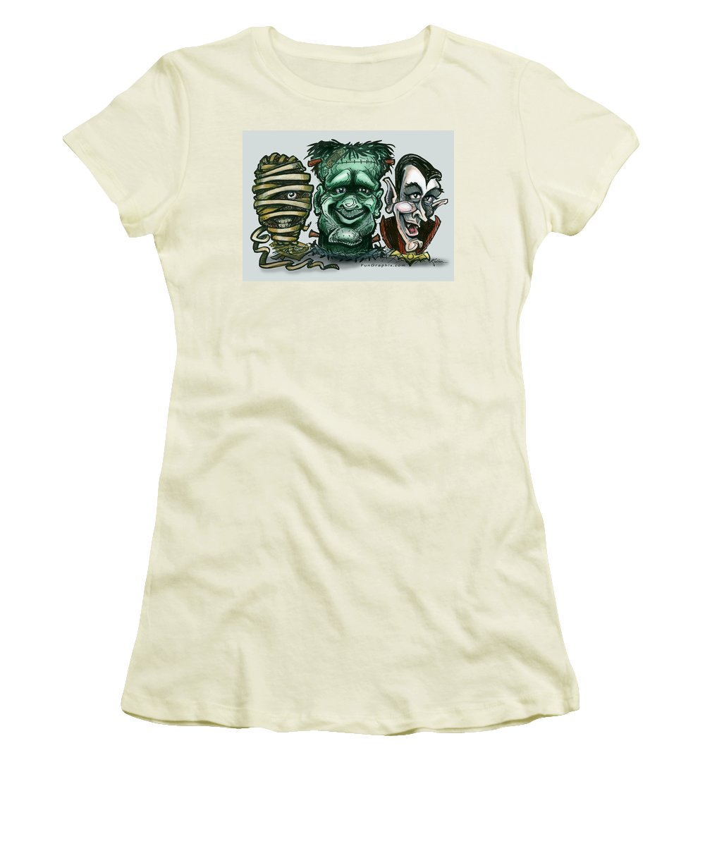 Halloween Women's T-Shirt (Athletic Fit) featuring the greeting card Halloween Monsters by Kevin Middleton