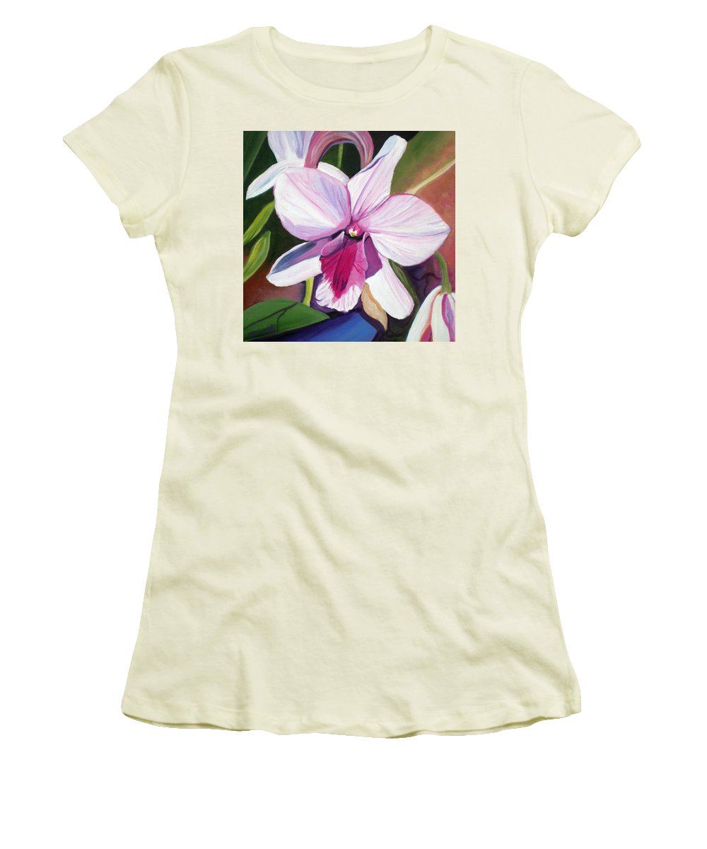 Kauai Women's T-Shirt (Athletic Fit) featuring the painting Happy Orchid by Marionette Taboniar