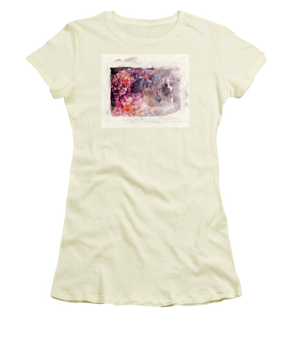 Grapes Women's T-Shirt (Athletic Fit) featuring the painting Hidden Beauty by Rachel Christine Nowicki