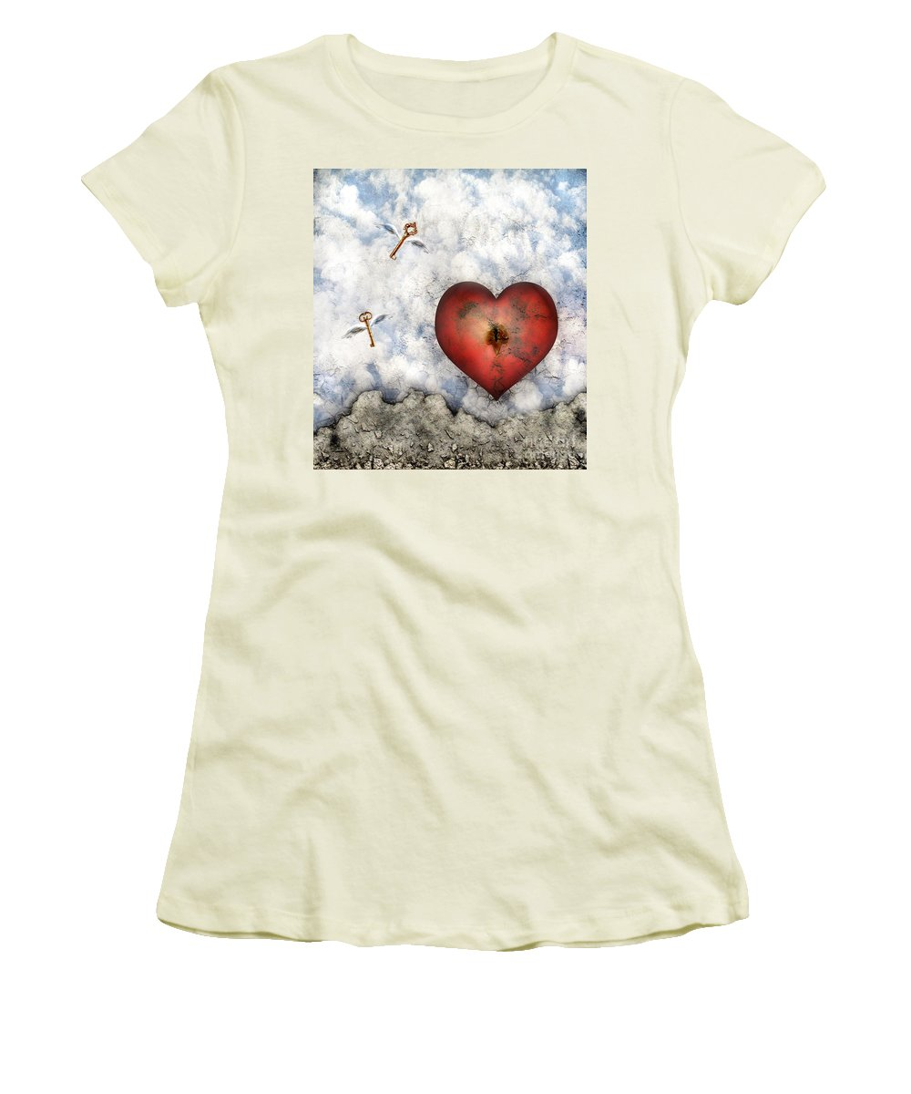 Heart Women's T-Shirt (Athletic Fit) featuring the digital art Hope Floats by Jacky Gerritsen