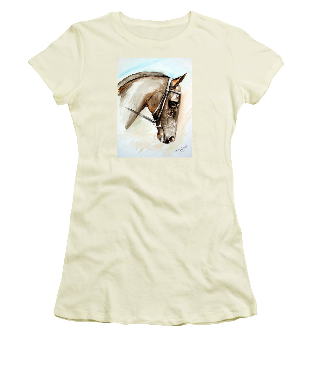 Horse Women's T-Shirt (Athletic Fit) featuring the painting Horse Head by Leyla Munteanu