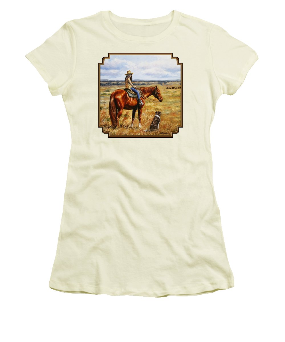 Western Women's T-Shirt (Athletic Fit) featuring the painting Horse Painting - Waiting For Dad by Crista Forest