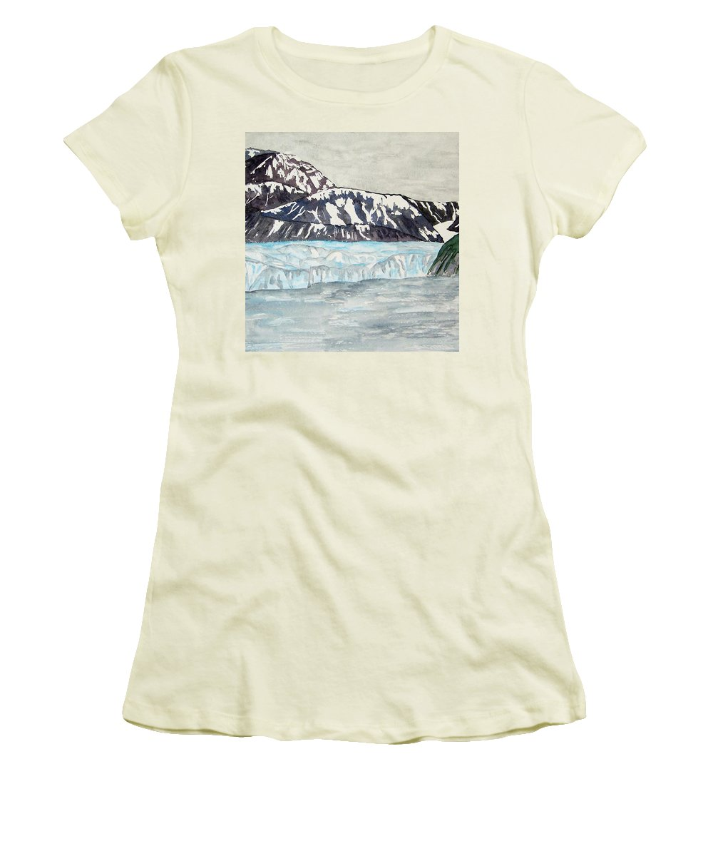 Glacier Women's T-Shirt (Athletic Fit) featuring the painting Hubbard Glacier In July by Larry Wright