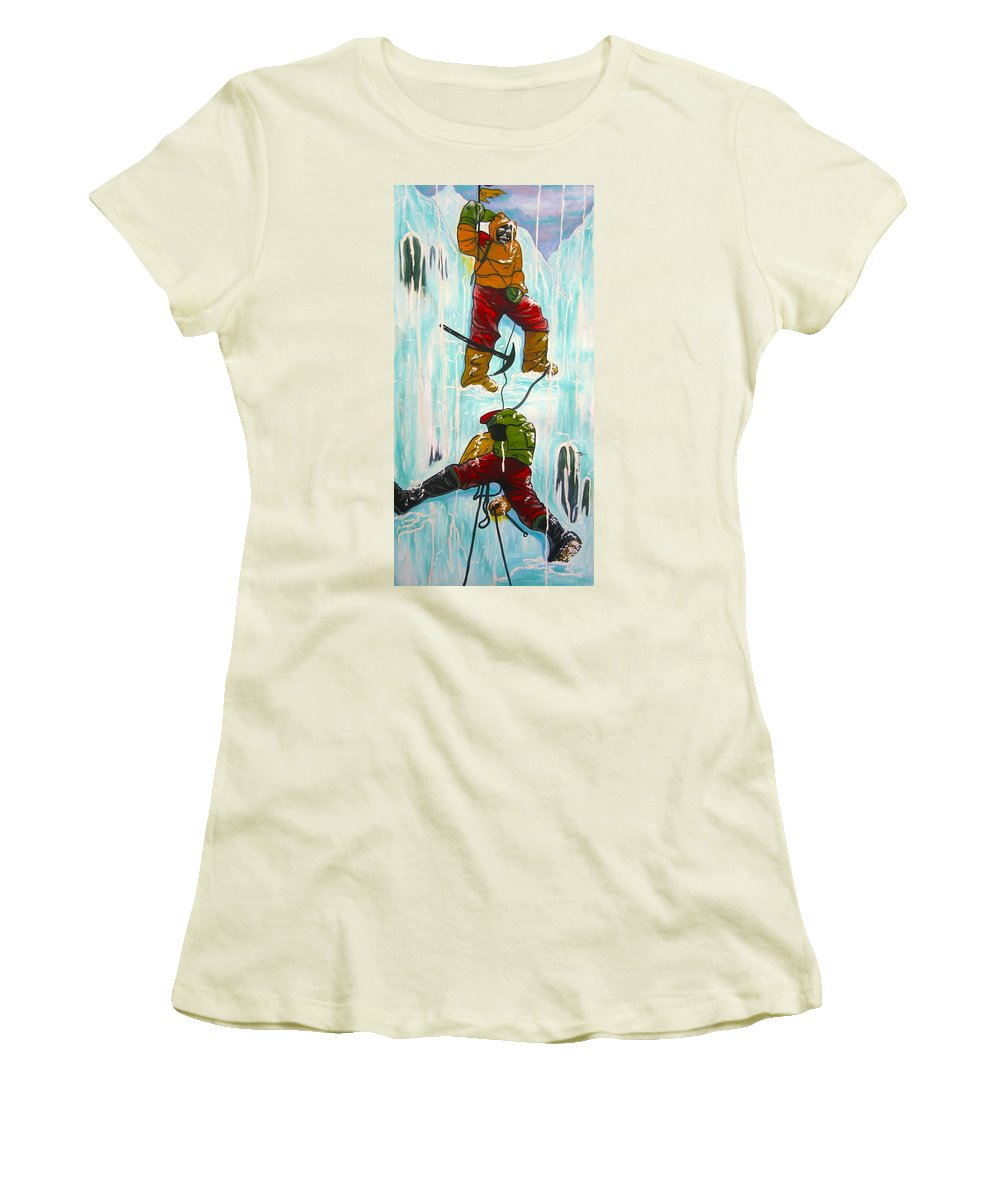 Abstract Sports Women's T-Shirt (Athletic Fit) featuring the painting Ice Climbers by V Boge