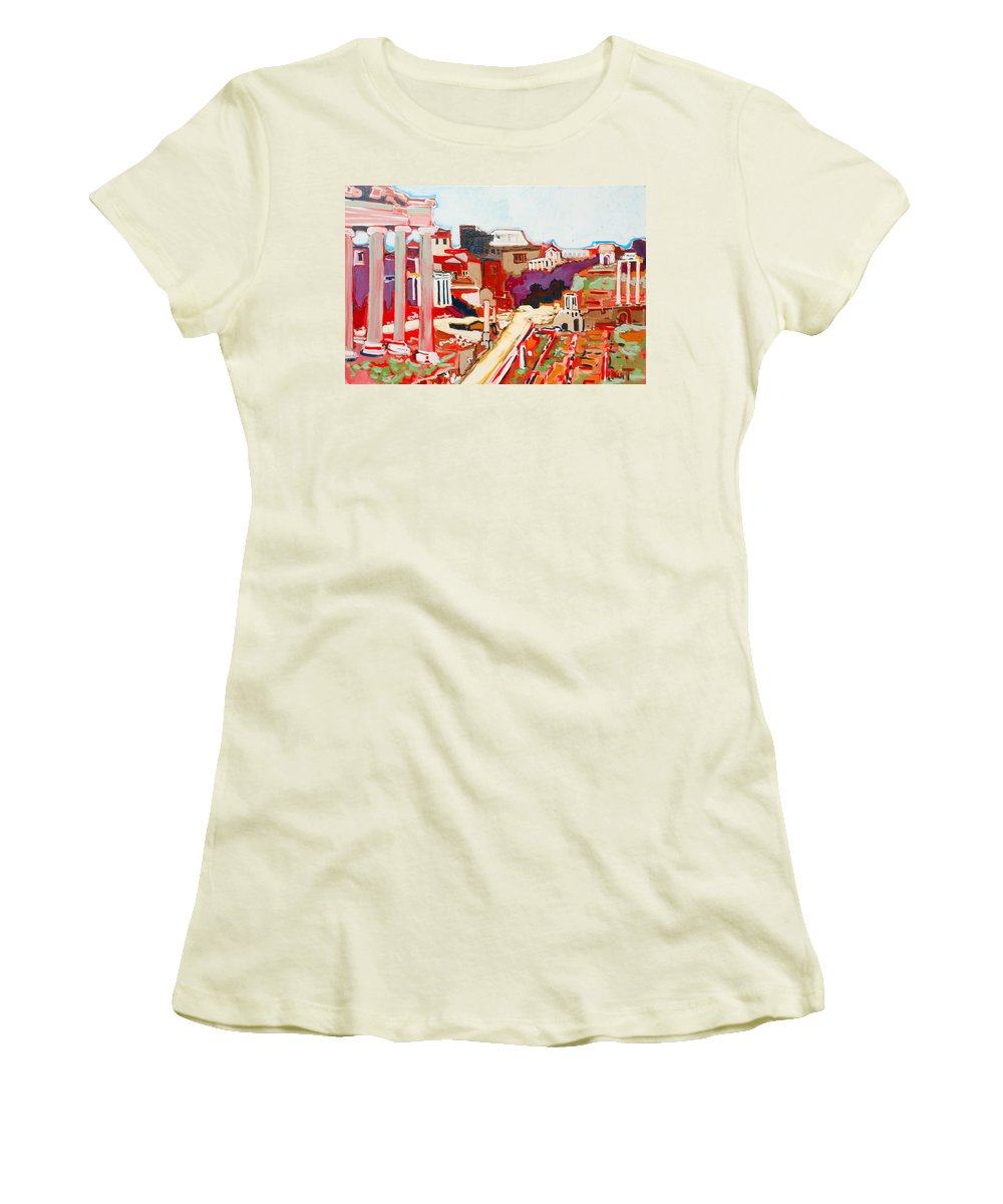 Rome Women's T-Shirt (Athletic Fit) featuring the painting Il Foro Romano by Kurt Hausmann