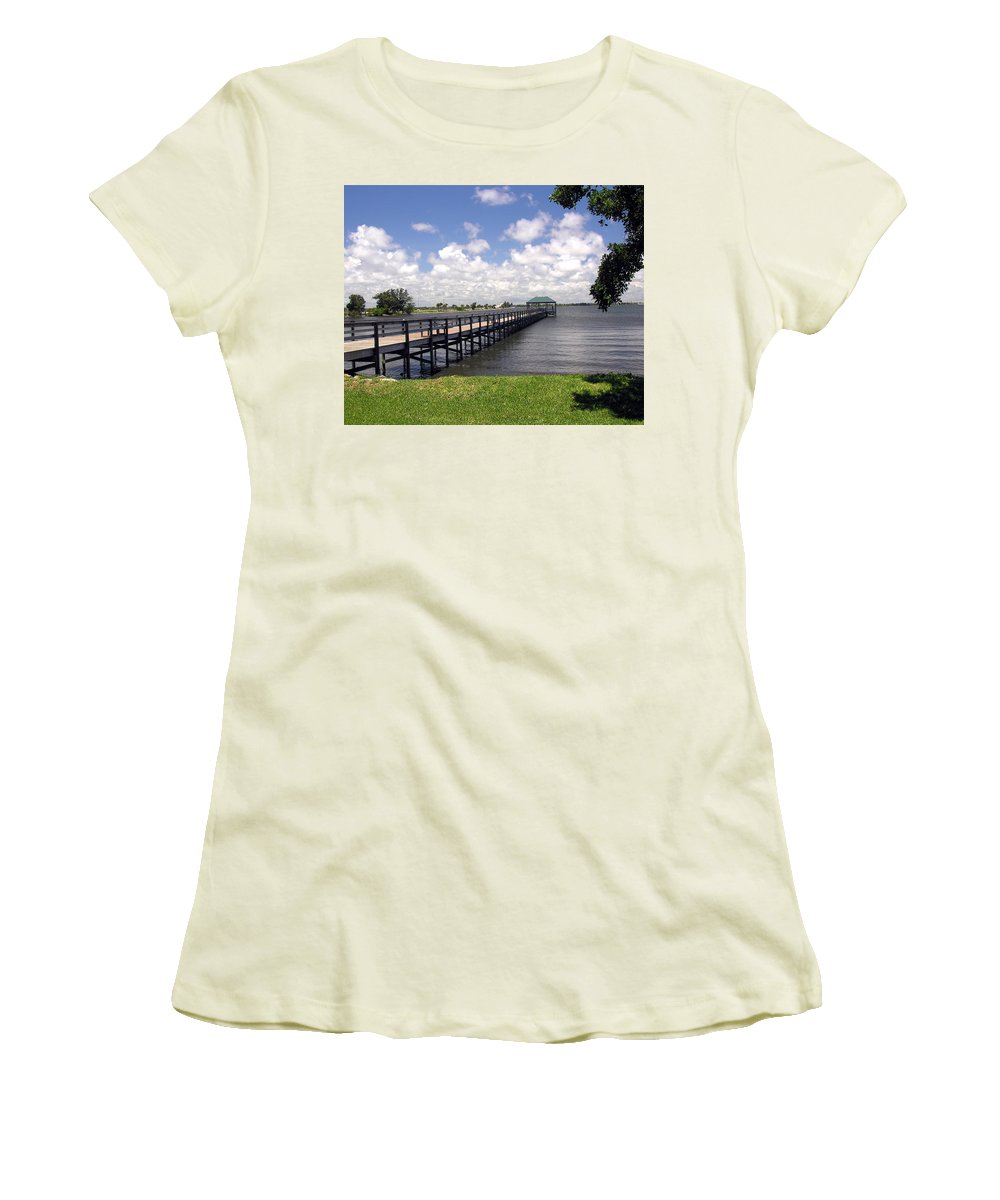 Indialantic; Pier; Florida; Brevard; Melbourne; Indian; River; Intercoastal; Waterway; Clouds South; Women's T-Shirt (Athletic Fit) featuring the photograph Indialantic Pier On The Indian River Lagoon In Central Florida by Allan Hughes