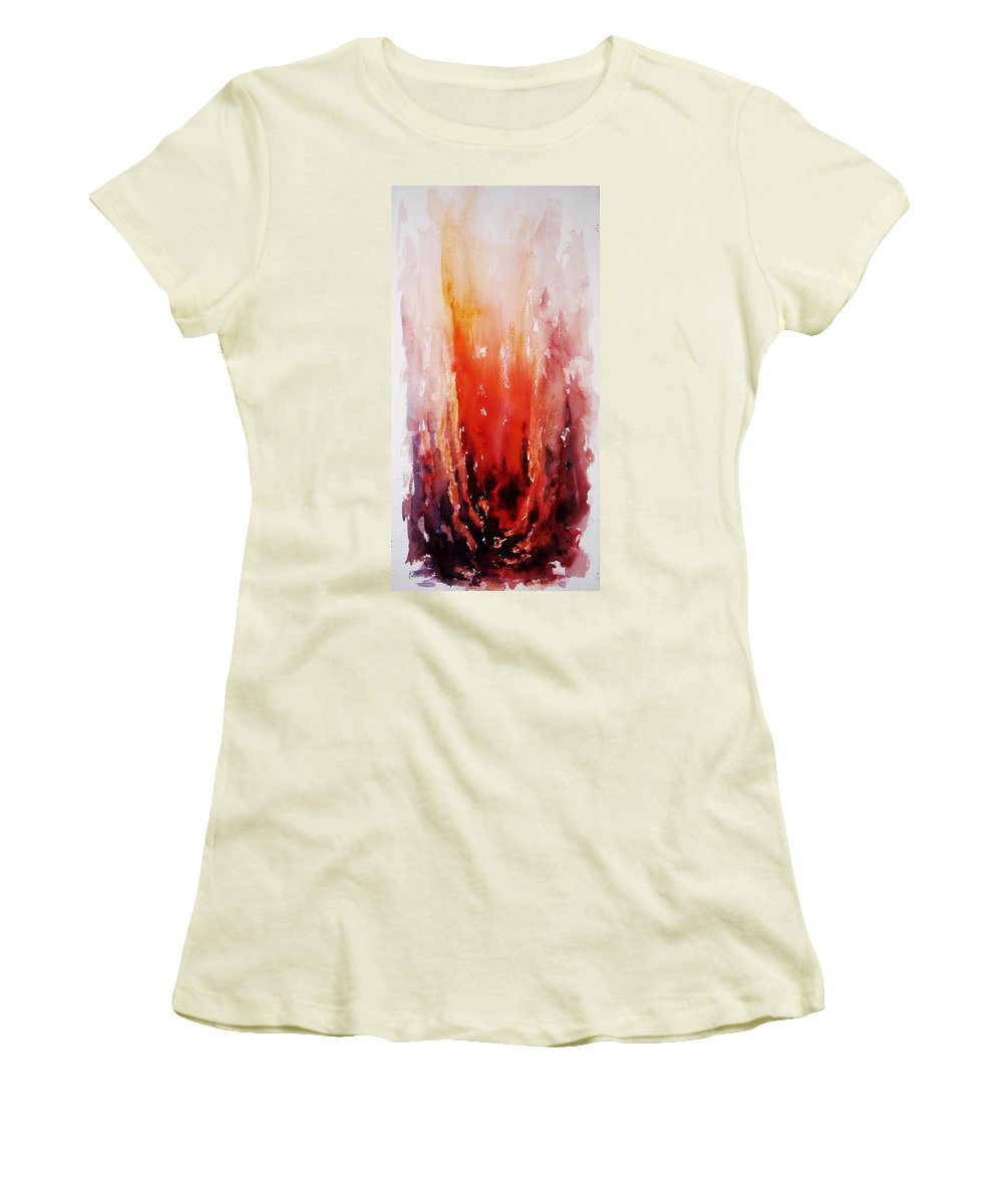 Landscape Women's T-Shirt (Athletic Fit) featuring the painting Inferno by Rachel Christine Nowicki