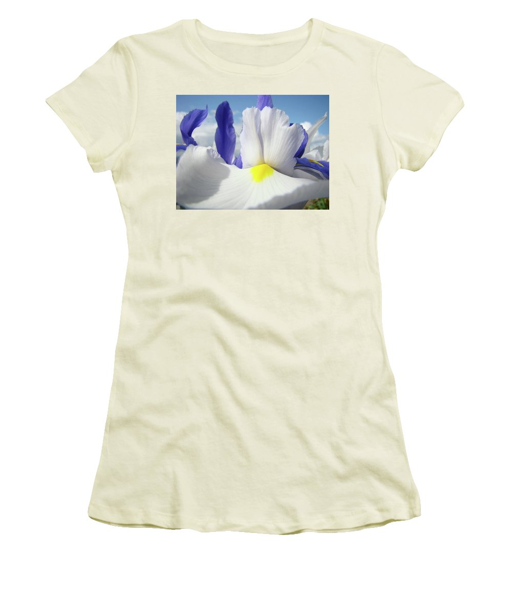 �irises Artwork� Women's T-Shirt (Athletic Fit) featuring the photograph Irises White Iris Flowers 15 Purple Irises Art Prints Floral Artwork by Baslee Troutman