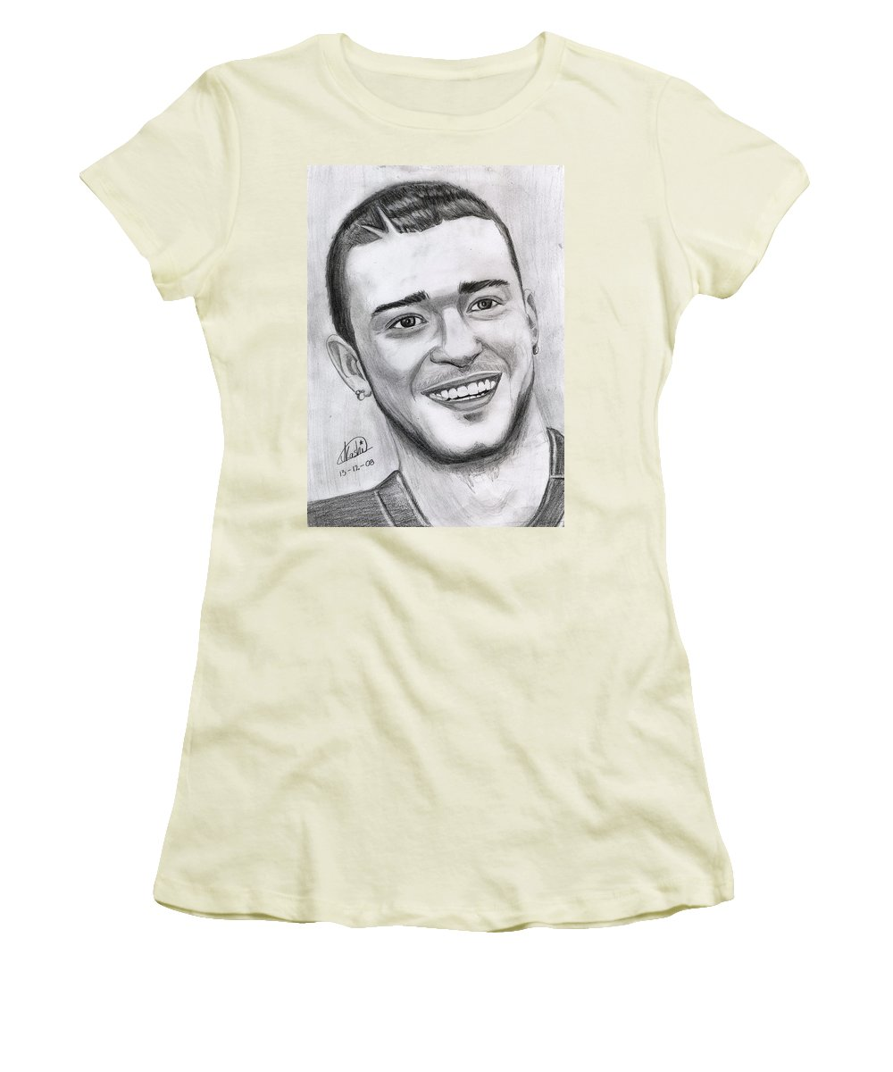 Justing Timberlake Women's T-Shirt (Athletic Fit) featuring the drawing Justing Timberlake Portrait by Alban Dizdari