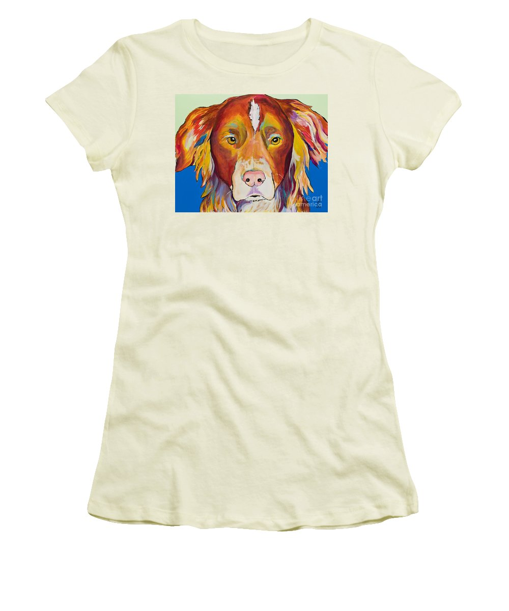 Australian Border Collie Women's T-Shirt (Athletic Fit) featuring the painting Keef by Pat Saunders-White