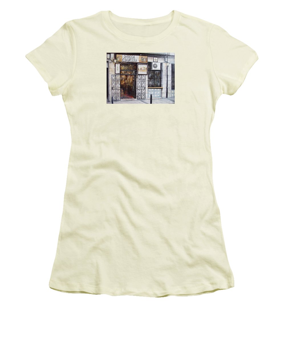 Bodega Women's T-Shirt (Junior Cut) featuring the painting La Cigalena Old Restaurant by Tomas Castano
