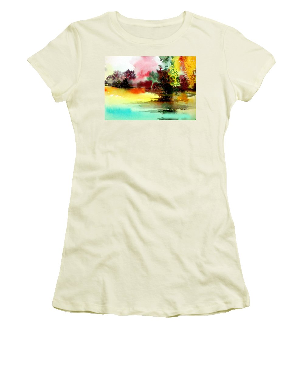 Nature Women's T-Shirt (Athletic Fit) featuring the painting Lake In Colours by Anil Nene