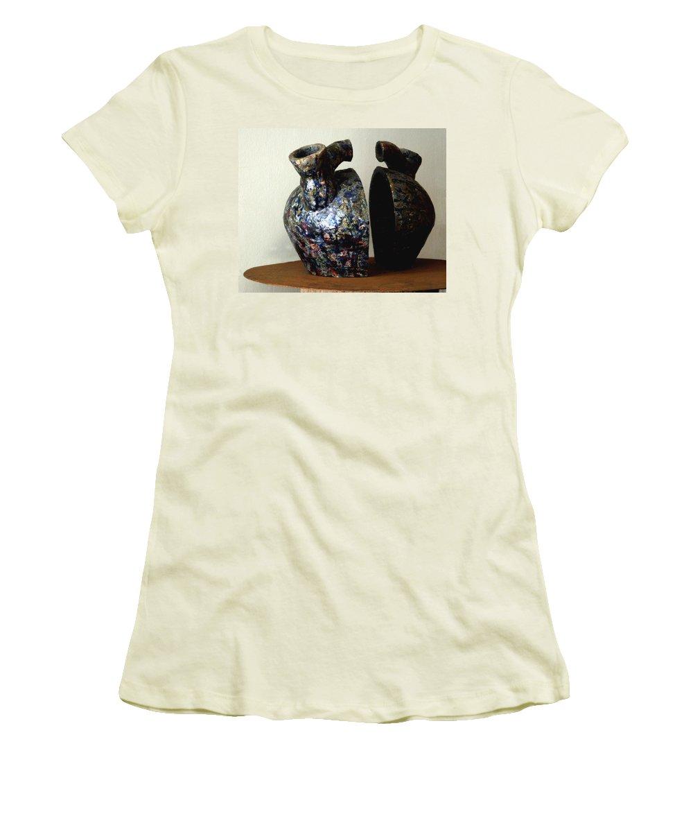 Ceramic Women's T-Shirt (Athletic Fit) featuring the sculpture Las Venas Abiertas De America Latina by Madalena Lobao-Tello