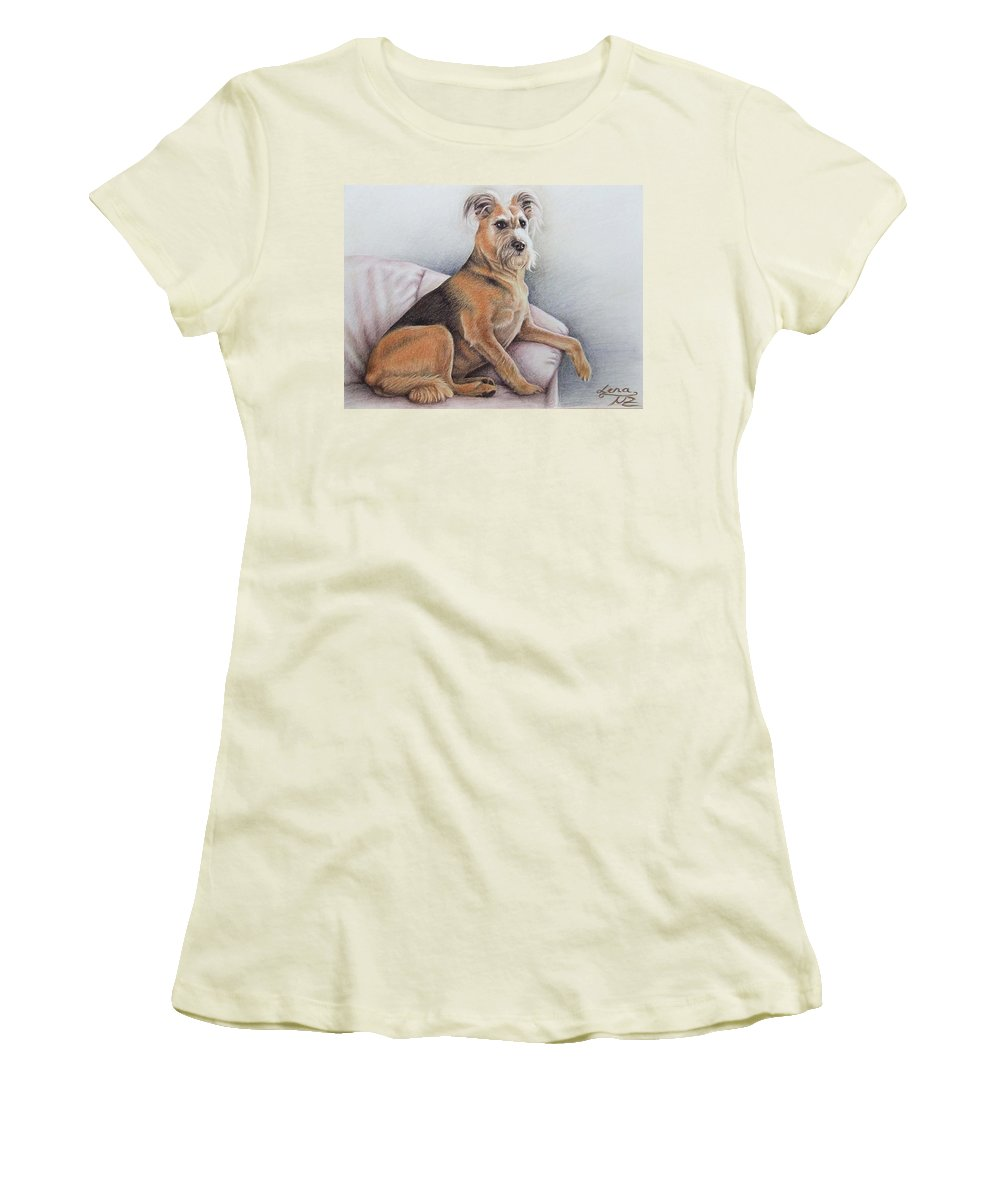 Dog Women's T-Shirt (Athletic Fit) featuring the pastel Lena by Nicole Zeug